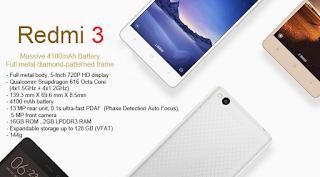 Harga  Xiaomi Redmi 3, Spesifikasi Smartphone Octa Core dengan RAM 2 GB Murah