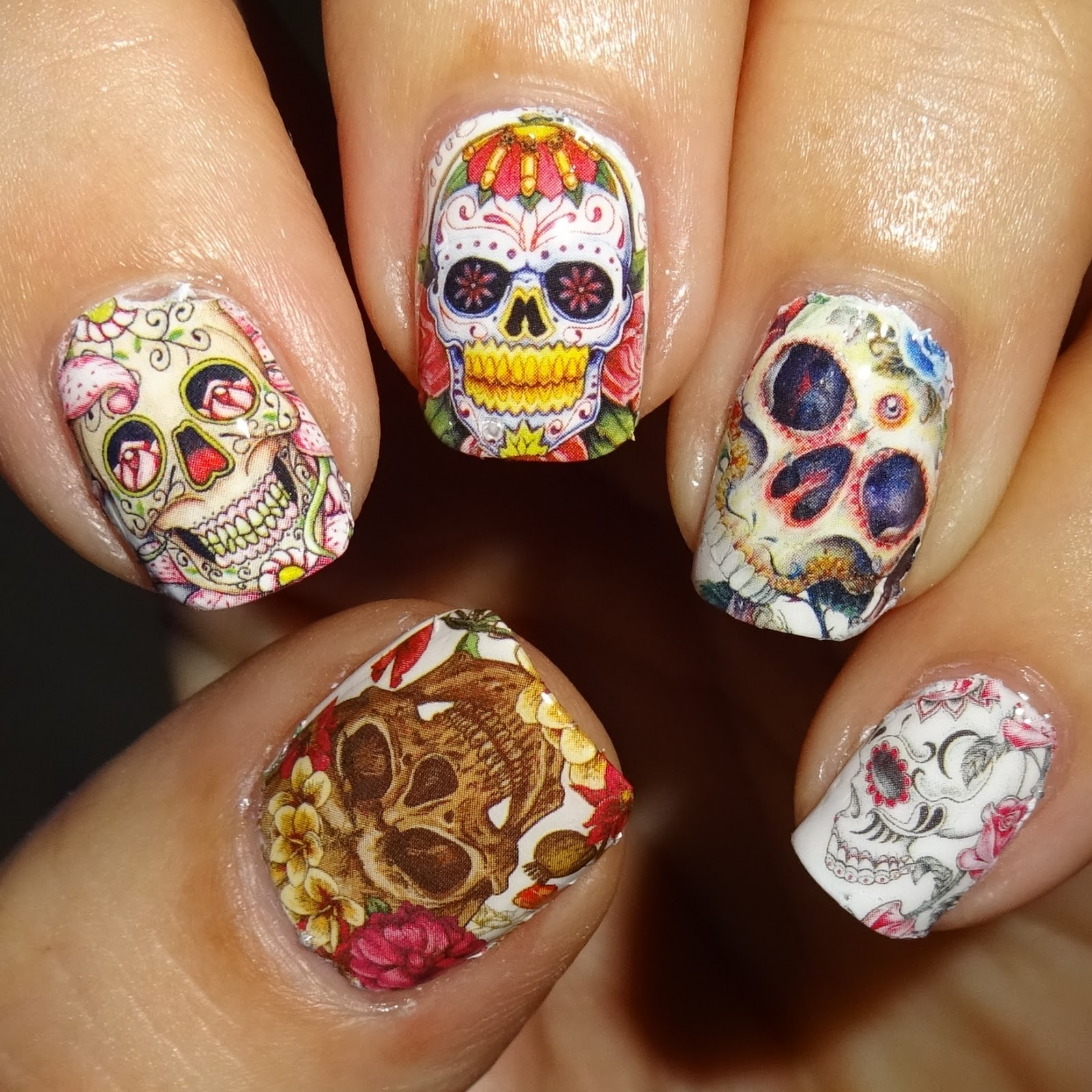 Wendy\'s Delights: Day of the Dead Nail Art Water Wraps from Sparkly ...