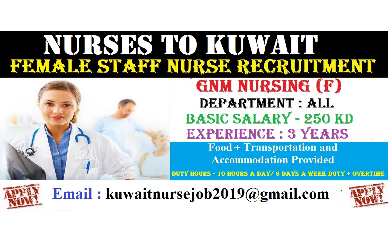 FEMALE DIPLOMA NURSES TO KUWAIT - APPLY NOW