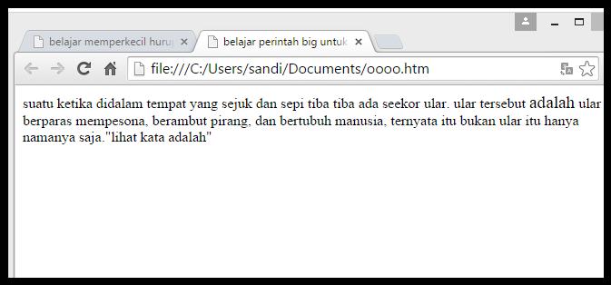 penggunaan tag big pada html
