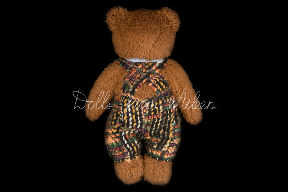 OOAK Artist teddy bear view from behind