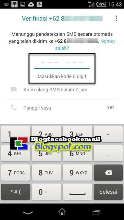 mengisi kode validasi kode sms wa