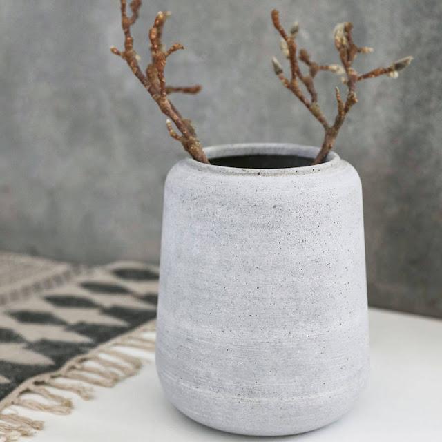 grey concrete plant pot