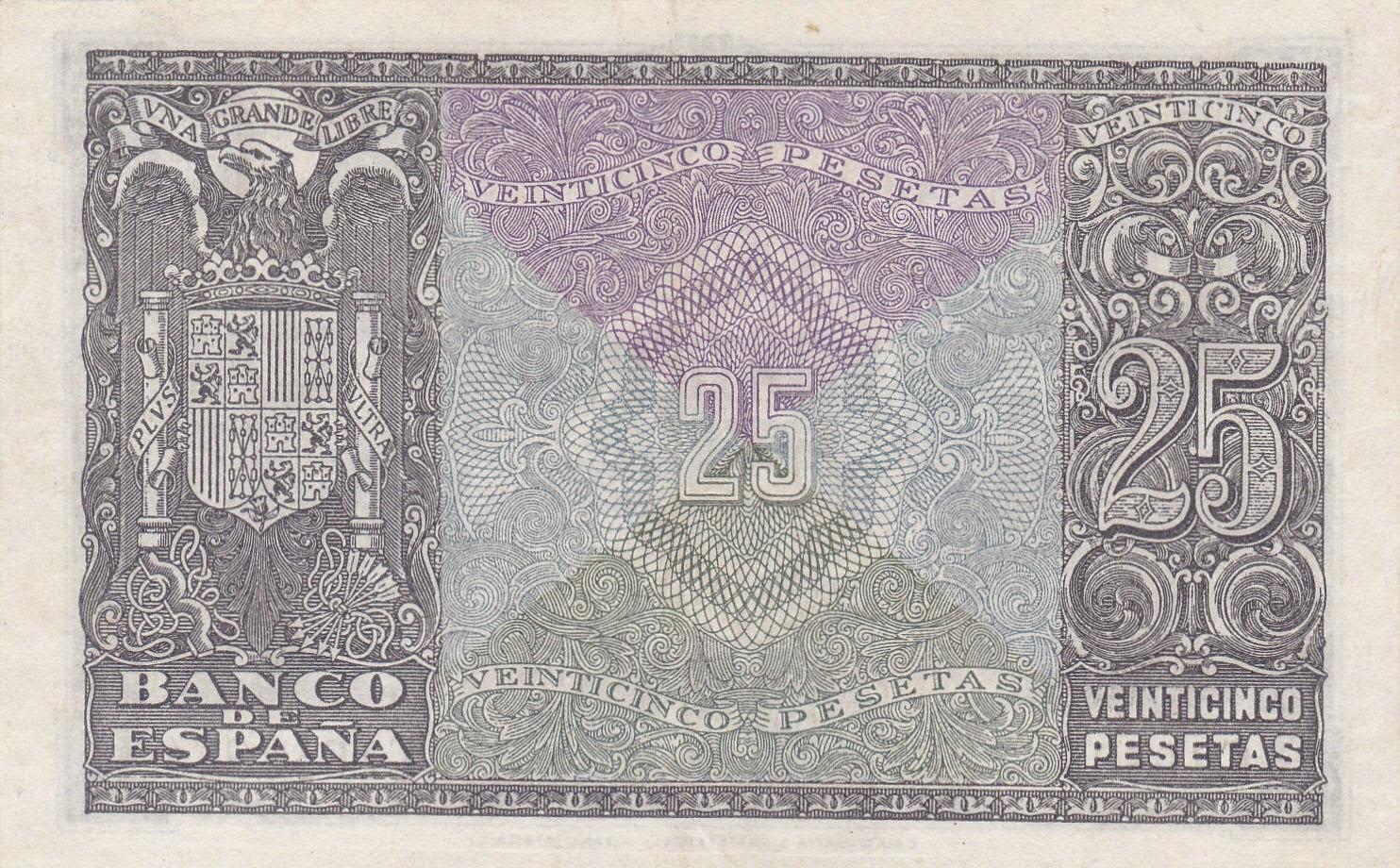 Spain money currency 25 Pesetas banknote 1940 Coat of arms of Spain