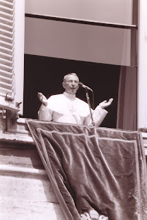 Pope John Paul I making his weekly  address to the crowds outside St Peter's