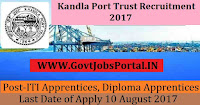 Kandla Port Trust Recruitment 2017– 198 ITI Apprentices, Diploma Apprentices