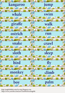 words for flashcards alongside wild fauna together with activity verbs