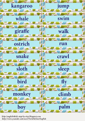 words for flashcards with wild animals and action verbs