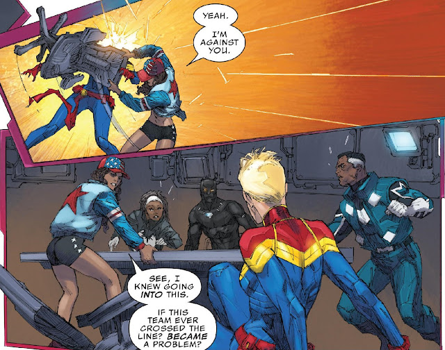 America slams a chair into Captain Marvel then begins to explain her onjections