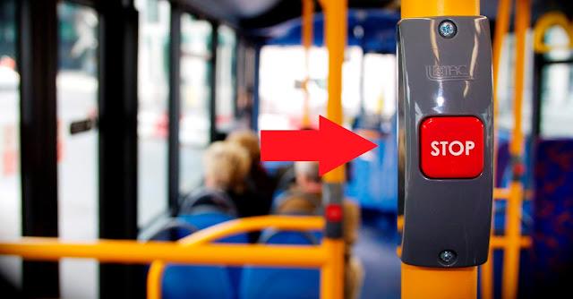 Кнопка STOP в салоне автобуса в России