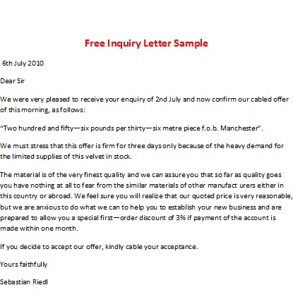 Free Inqiury Letter Sample. Free Inquiry Letter  Inquiry Letters Sample