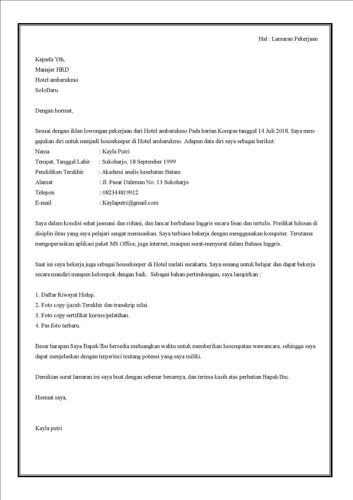 Contoh surat lamaran kerja di hotel sebagai housekeeper
