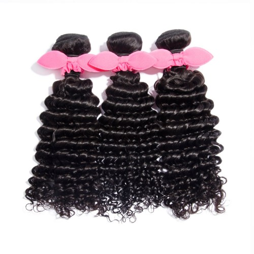 "10""-30"" 3 Bundles Deep Curly Virgin Brazilian Hair Natural Black 300g"