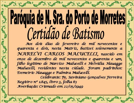 Di Cono Narelvi Carlos Malucelli CERTID O DE BATISMO DO DIAC NARELVI