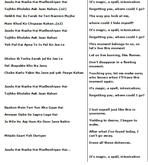 Bollywood songs: Jaadu Hai Nasha Hai Lyrics English translation
