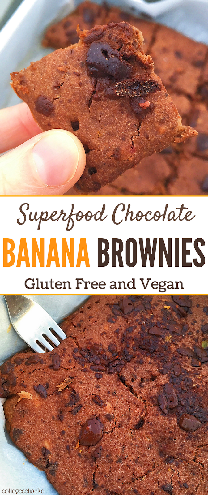 Superfood Chocolate Banana Brownies (Gluten Free, Vegan, Oil Free)