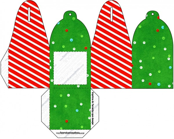caja para cupcakes chocoltes o golosinas de navidad a rayas