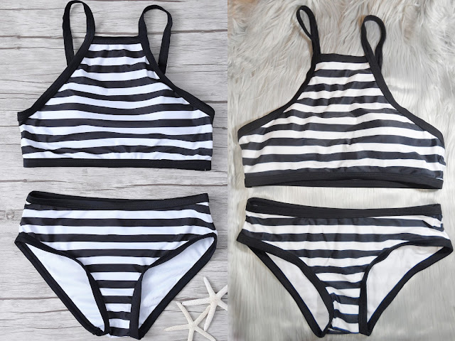 liz breygel fashion try on swimsuits swimwear bikini tankini haul palm leaf stripes print