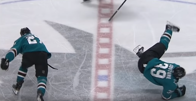 Joonas Donskoi upends Logan Couture