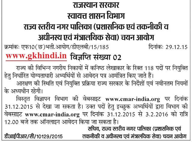 Rajasthan Nagar Palika NAGAR-NIGAM UDH Admit card 2019 Junior Accountant- admit card