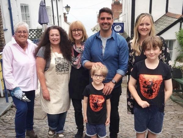 BBC Bloom: Su Maddocks, Dolly, Ann Jarvis, Chris Bavin, Ellie Jarvis - Children: Wilfie (5yrs), Sonny (9yrs). Photo copyright Ellie Jarvis (All Rights Reserved)