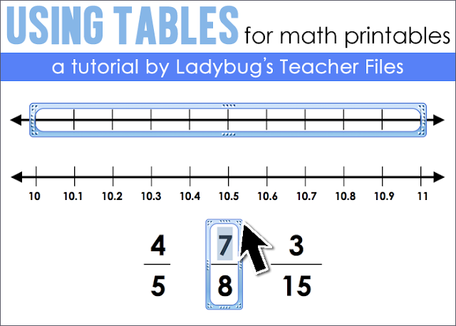 Tips on using tables in PowerPoint to make math printables.