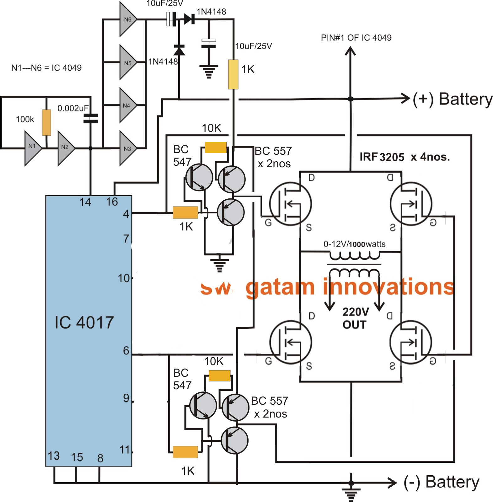 Full Bridge 1 Kva Inverter Circuit Using 4 N Channel Mosfets