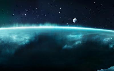 Nubes de color azul con el espacio de fondo y la luna