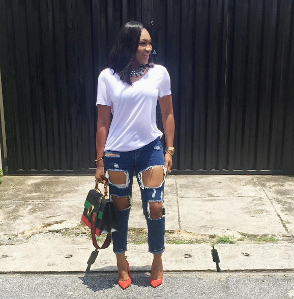 Ebube Nwagbo steps out in ripped jeans