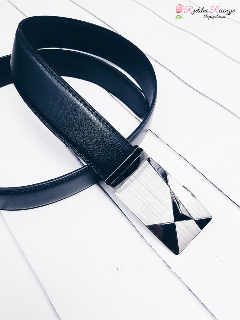 Stylish Triangle Shape Embellished Metal Buckle Black Wide Belt For Men