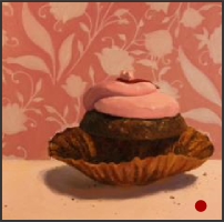 dessert,desserts,oil painting,art,artwork,pattern,chocolate cupcake,still life