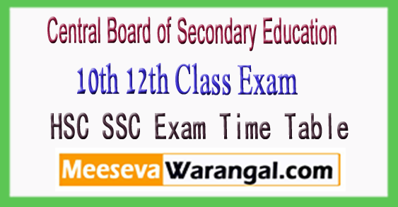 CBSE Central Board of Secondary Education 10th 12th Class Exam Time Table 2018 Download