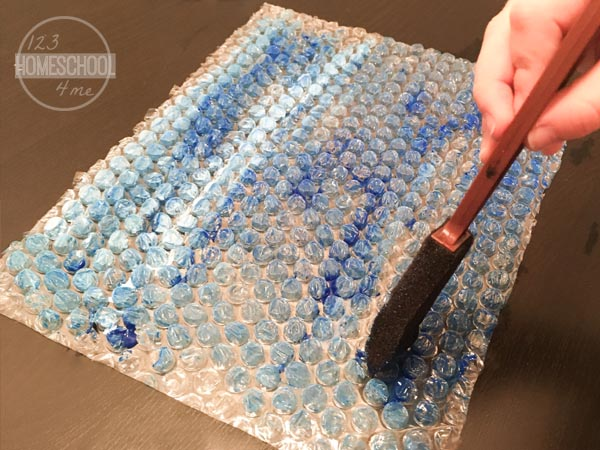 paint bubble wrap blue