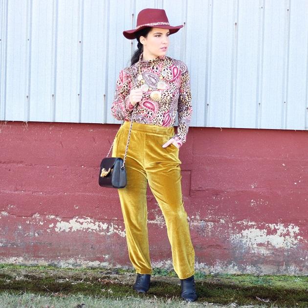 Shein Gold Velvet Pants