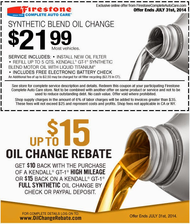 The Firestone synthetic and standard oil change price is usually higher then the regular oil change price. Firestone Oil Change Cost Includes Filter Inspection The Firestone oil change cost also includes an inspection of your car's oil filter and used oil, and if necessary, replace the filter.