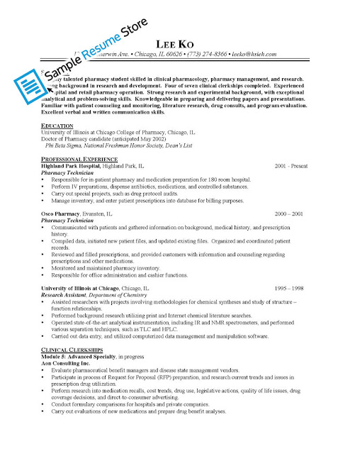 sample resume for pharmacy technician sample resumes