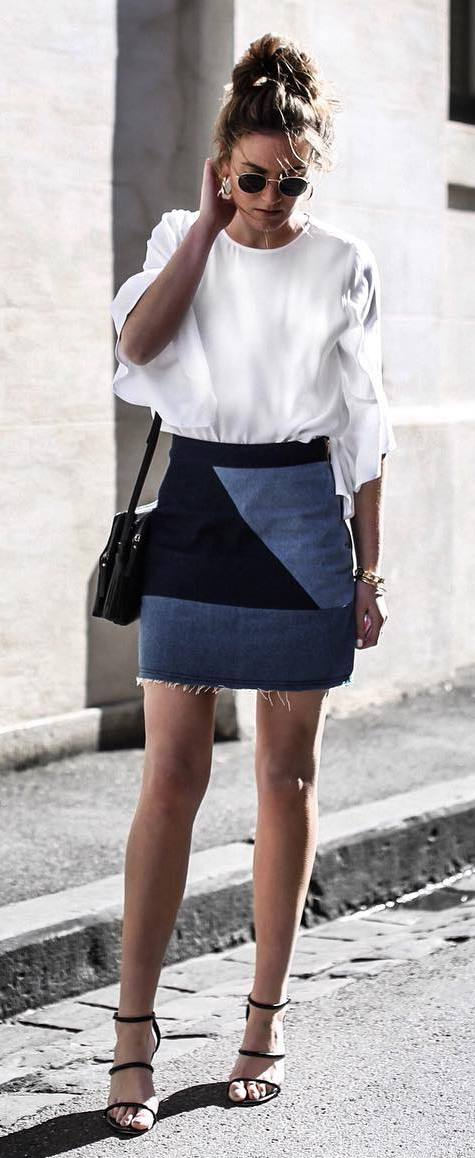 summer fashion trends: top + denim skirt + heels
