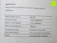 Spezifikation: OUTAD 2-in-1 Outdoor Wireless Bluetooth Lautsprecher & LED Lampe mit eingebautem Mikrofon, einstellbarem Licht und Broadcom 3.0