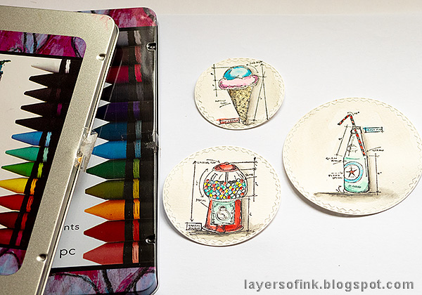 Layers of ink - Canvas background art journal page by Anna-Karin Evaldsson. Color with Dina Wakley Scribble Sticks.