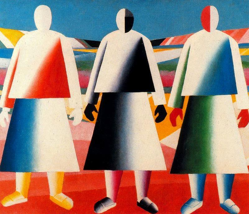 Meninas no Campo - Kasimir Malevich e suas pinturas com elementos geométricos abstratos