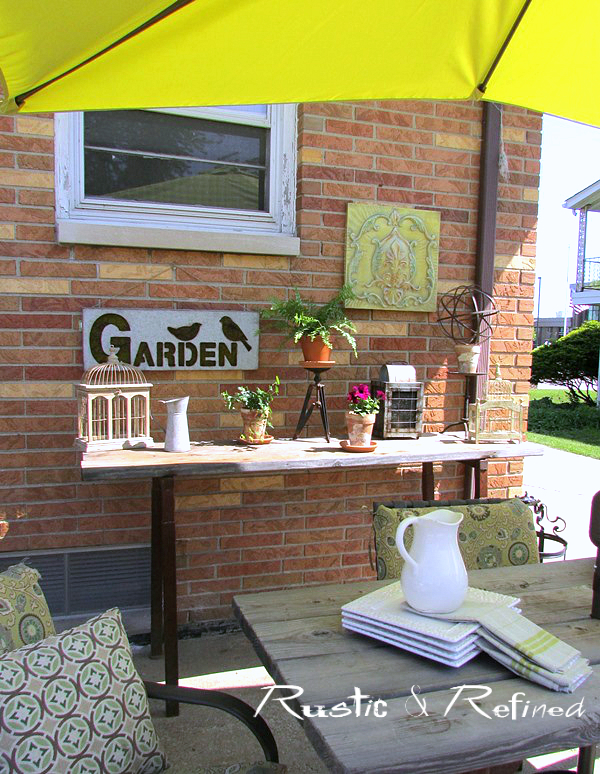 decorating a backyard patio for outdoor dining.