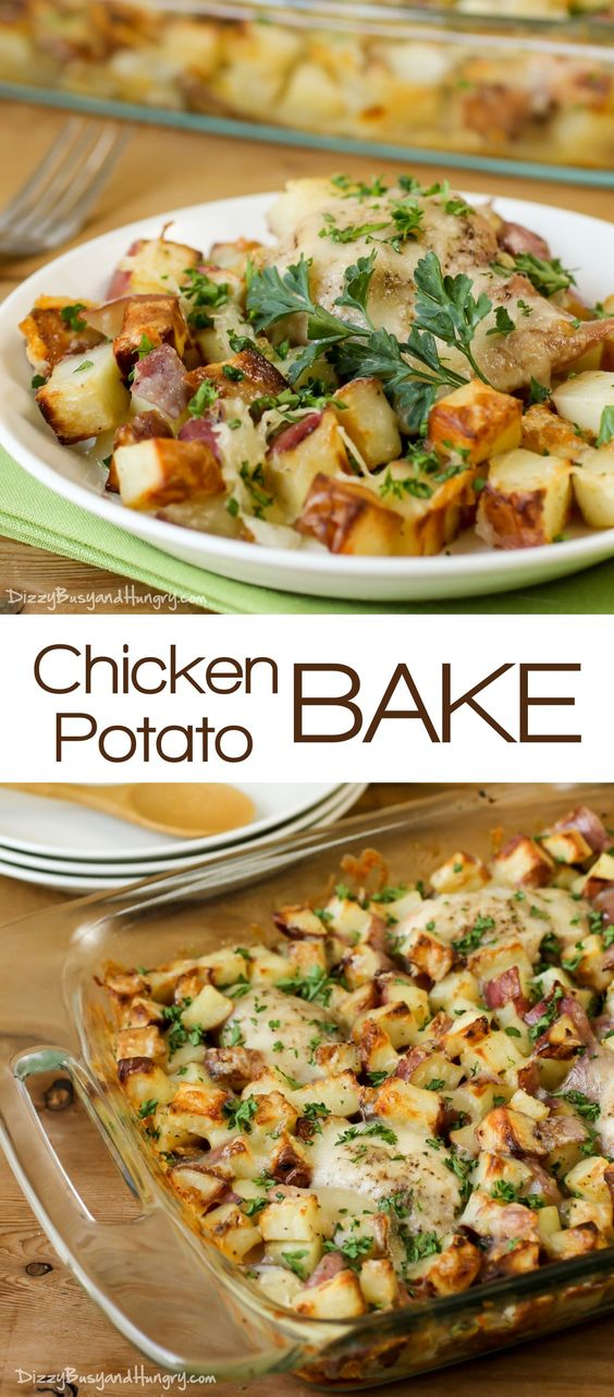 CHICKEN POTATO BAKE #chicken #potato #chickenpotatobake #easydinnerrecipes #dinnerideas #chickenbake