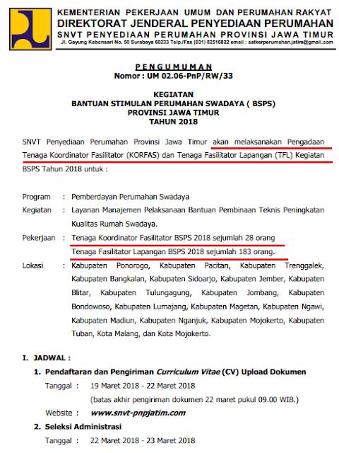 Direktorat Jenderal Penyediaan Perumahan  Pelajar Indonesia REKRUTMEN TENAGA KOORDINATOR FASILITATOR DAN TENAGA FASILITATOR LAPANGAN KEGIATAN BSPS PROVINSI JAWA TIMUR TAHUN 2018