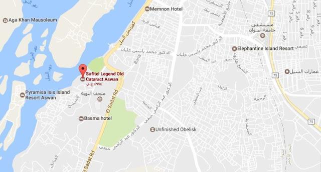 خريطة فندق سوفيتيل أولد كتراكت أسوان Sofitel Legend Old Cataract Aswan Map