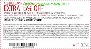 free Macy's coupons march 2017