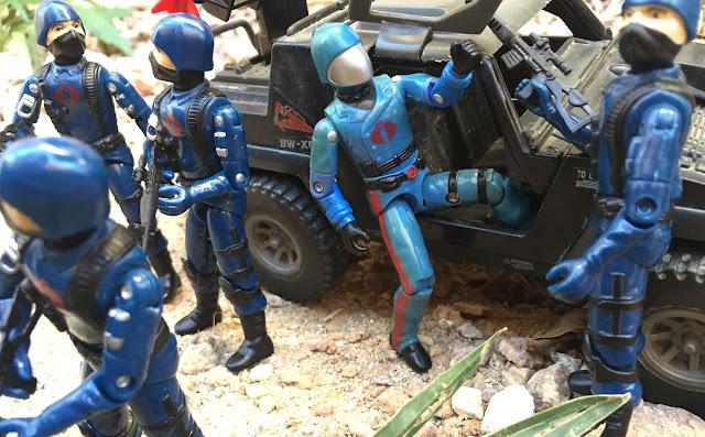 1983 Cobra Commander, Cobra Trooper, 1984 Stinger, Black Major