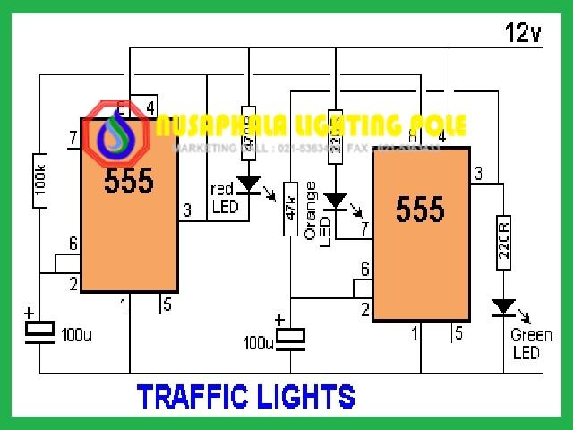 rangkaian lampu traffic light sederhana