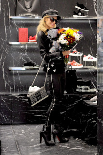 Paris Hilton Shopping in Black Dress at Philipp Plein Boutique in Milan