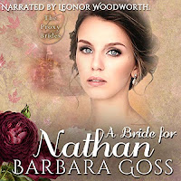 A Bride for Nathan audiobook cover. A pretty woman gazes out of the cover, franed by flowers.