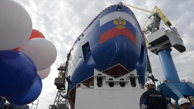 Rusia expone el mayor y más potente rompehielos nuclear del mundo